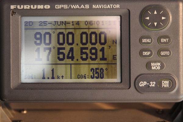 北極点クルーズで北極点に到達した瞬間のGPS